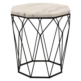 Three Hands White Marble and Metal Accent Table