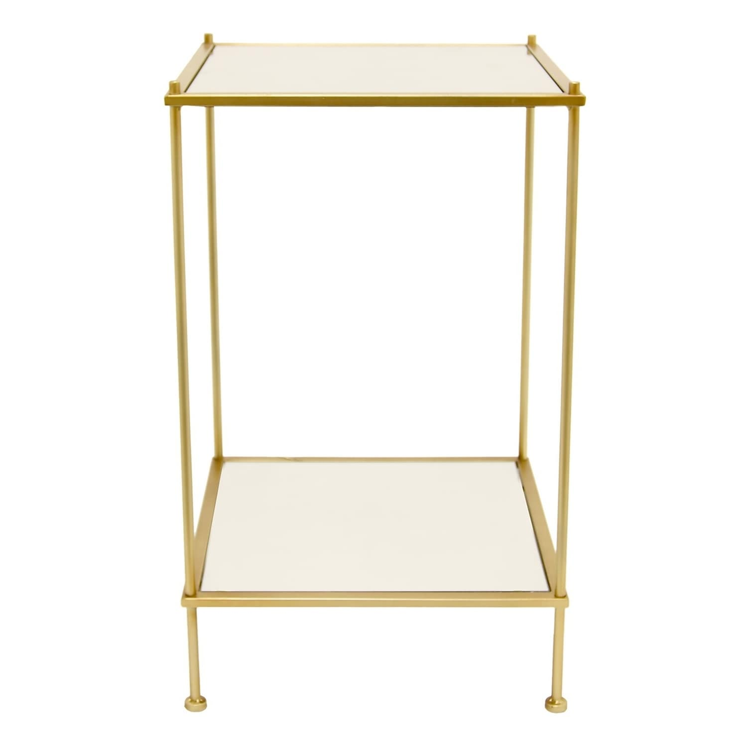 Three Hands Decorative Mirror Side Table With Gold Metal Base