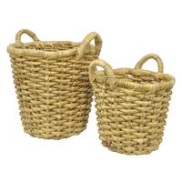 Three Hands Natural Brown Seagrass Baskets (Set of 2)