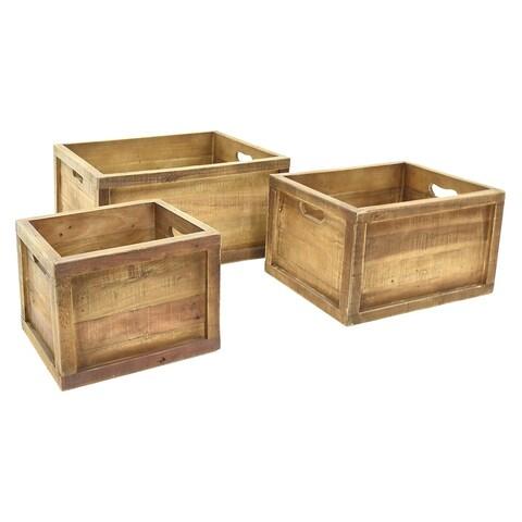 Three Hands Wood Natural Finish Storage Baskets (Set of 3)