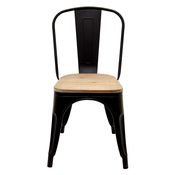 Three Hands Metal Chair With Wood Seat