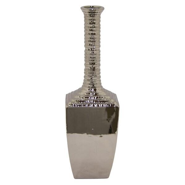 Three Hands Decorative Silver Ceramic Vase With Glossy Finish