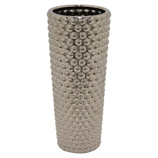 Three Hands Textured Silver Ceramic Vase With Glossy Finish