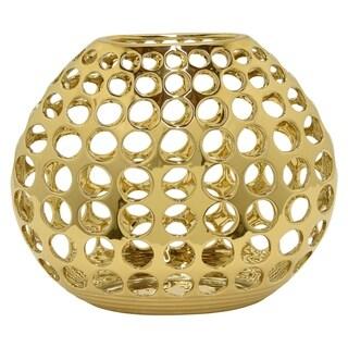 Three Hands Decorative Pierced Gold Ceramic Vase