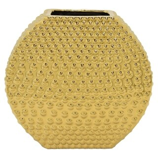 Three Hands Textured Gold Ceramic Vase With Glossy Finish