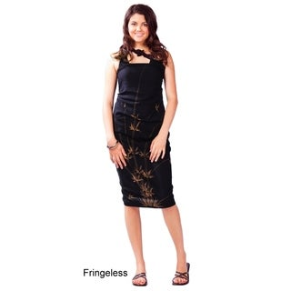 Bamboo Sarong in Black FRINGELESS
