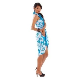 Triple Lei Sarong in Turquoise/White