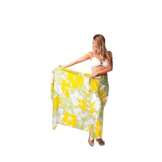 "Floral Sarong """"Canary Island"""" Yellow and Green"