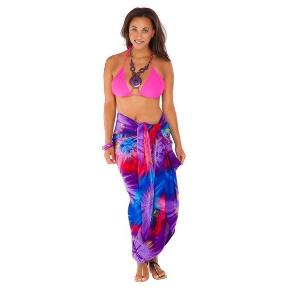 6ba8ccc0e50e Tie Dye Plus Size Sarong in Chakra Pink-Red-Purple-Blue FRINGELESS