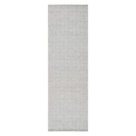 """Jani Ina Flatweave Grey/White Rug - 2'6"""" x 8'"""