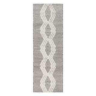 "Jani Jori Black/White Jute Blend Tribal Rug - 2'6"" x 8'"
