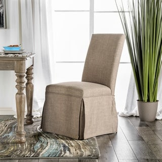 Furniture of America Ilyena Transitional Skirted Side Chair (Set of 2)