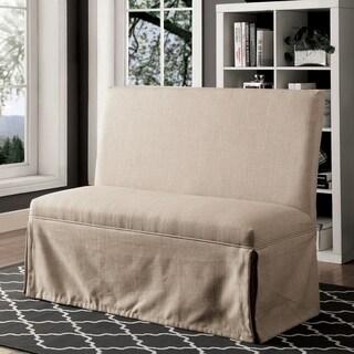 Furniture of America Ilyena Transitional Skirted Loveseat Bench