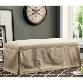 Furniture of America Cols Transitional Linen Fabric Accent Bench