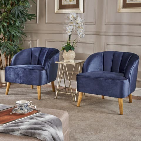 Amaia Modern Velvet Club Chair (Set of 2) by Christopher Knight Home
