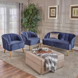 Link to Amaia Modern 3-piece Velvet Chat Set by Christopher Knight Home Similar Items in Living Room Furniture Sets