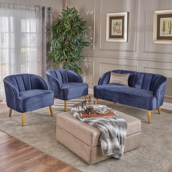 Amaia Modern 3-piece Velvet Chat Set by Christopher Knight Home. Opens flyout.