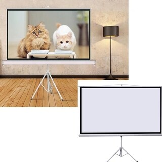 "80"" Projector 16:9 Projection Screen Tripod Pull-up Matte White"