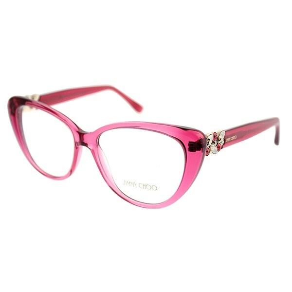 78b2753e74 Jimmy Choo Cat-Eye JC 120 W5R Women Transparent Cherry Frame Eyeglasses