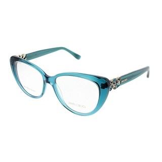 Jimmy Choo Cat-Eye JC 120 W5X Women Transparent Petroleum Green Frame Eyeglasses