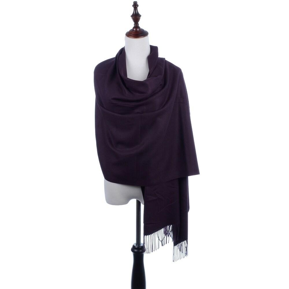 Light Gray Silver Pashmina Silk Scarf Soft Shawl Cashmere Wrap Solid Color P#2