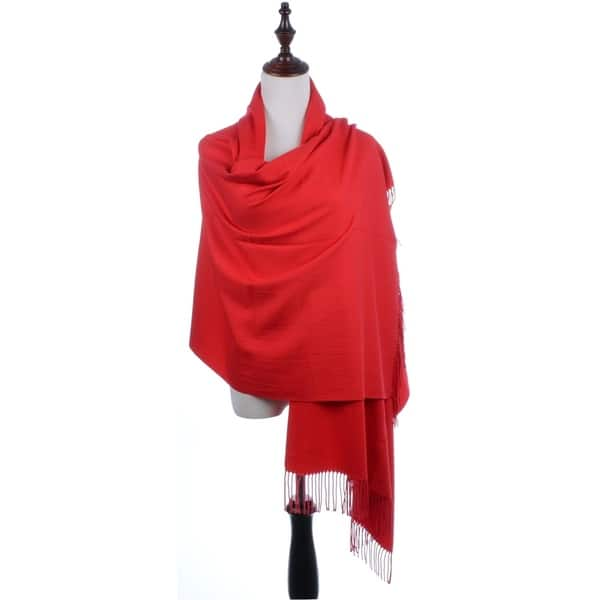 Red  Cashmere Scarf Shawl Lightweight Soft Warm Stylish for Women and Men gift