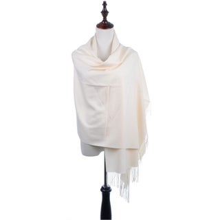 BYOS Versatile Oversized Soft Cashmere Shawl Scarf Travel Wrap Blanket W/ Tassels, Many Colors (Option: Ivory)