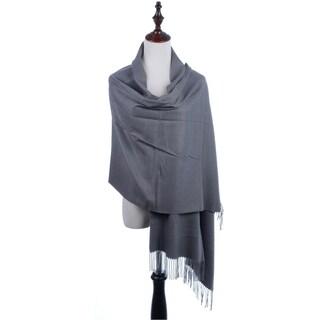 BYOS Versatile Oversized Soft Cashmere Shawl Scarf Travel Wrap Blanket W/ Tassels, Many Colors (Option: dk. grey)