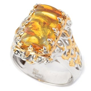 Michael Valitutti Palladium Silver Half Cylinder Amber Crown Ring
