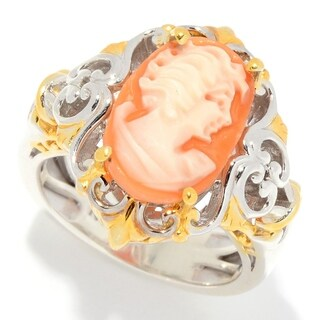 Michael Valitutti Palladium Silver Carved Shell Portrait Cameo Ring