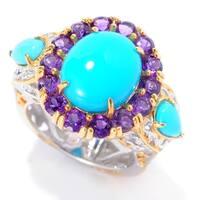 Michael Valitutti Palladium Silver Sleeping Beauty Turquoise & African Amethyst Halo Ring
