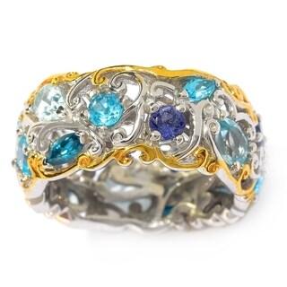 "Michael Valitutti Palladium Silver ""Mini Carnaval"" Blue Topaz & Multi Gemstone Eternity Band Ring"