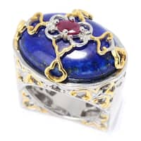 Michael Valitutti Palladium Silver Lapis & Ruby Scrollwork Overlay Euro Shank Ring
