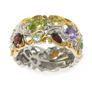 "Michael Valitutti Palladium Silver ""Mini Carnaval"" Multi Gemstone Eternity Band Ring"