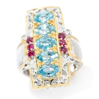 Michael Valitutti Palladium Silver Blue Zircon & Pink Tourmaline Elongated Ring