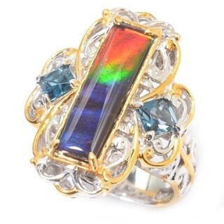 Michael Valitutti Palladium Silver Ammolite Triplet & London Blue Topaz Elongated Ring