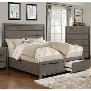 Furniture of America Ziva II Grey Rustic Plank-style King-size Storage Bed