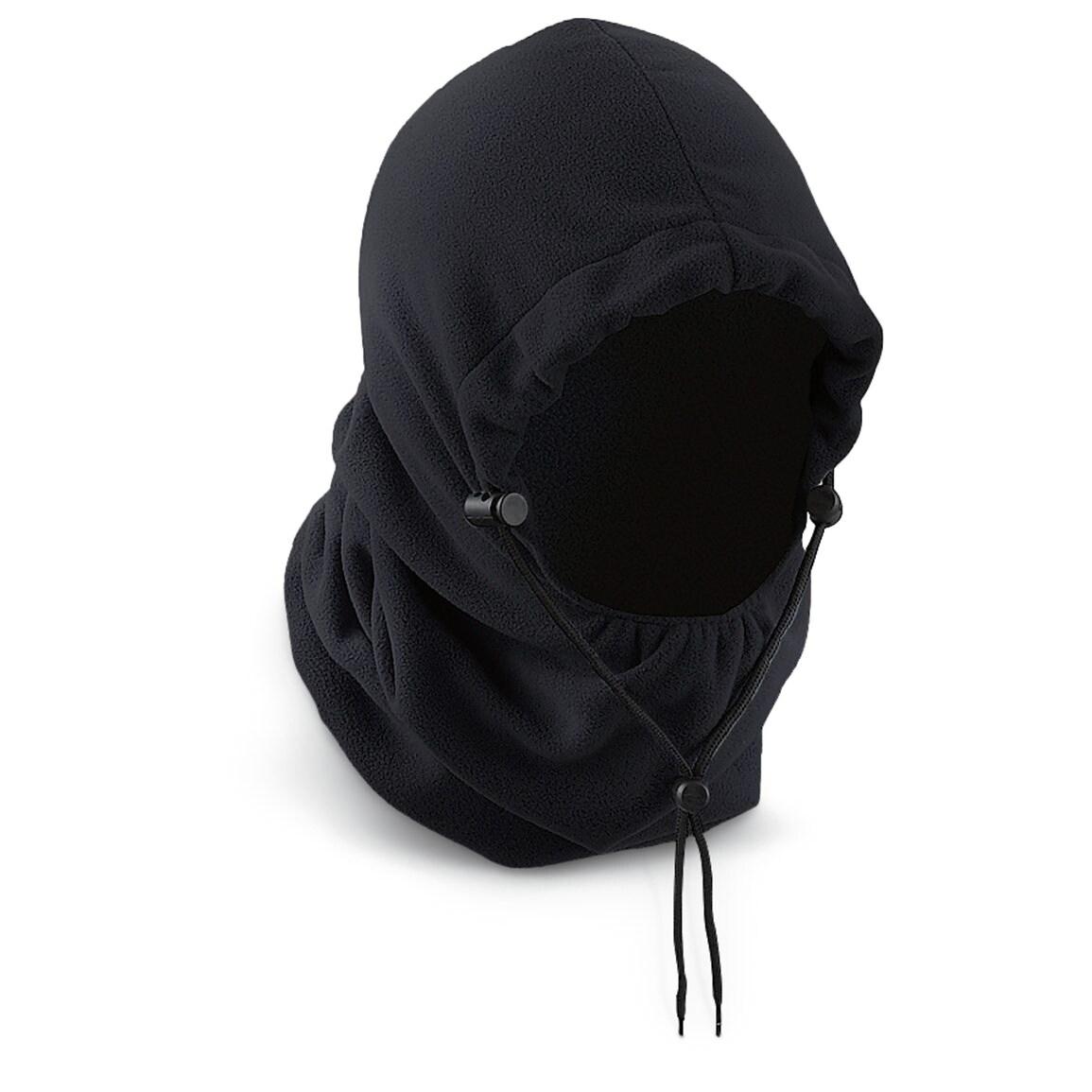 Deluxe Comfort Polar Fleece Hood - Winter Hat - Black, Me...