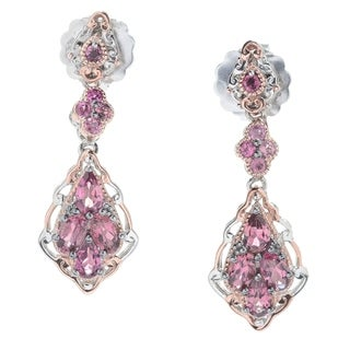 Michael Valitutti Palladium Silver Exotic Pink Tourmaline Cluster Drop Stud Earrings