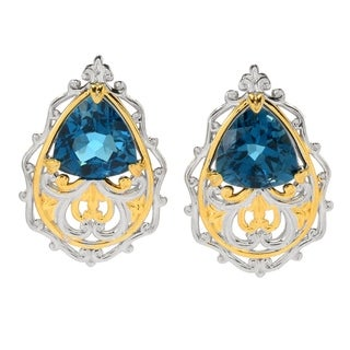 Michael Valitutti Palladium Silver Trillion Shaped London Blue Topaz Scrollwork Stud Earrings