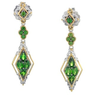 Michael Valitutti Palladium Silver Chrome Diopside Exotic Cluster Drop Earrings