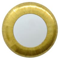 Three Hands Round Wall Mirror With Gold Foil-leaf Wooden Frame