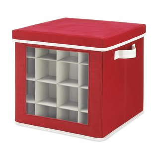 Whitmor Holiday Ornaments Storage Cube with 64 Individual Compartments - Made with Non-Woven Polypropylene Fabric