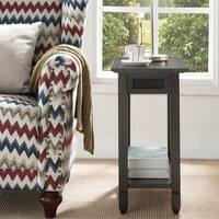 Smoke Grey Oak and Black Chairside Table with AC/USB Charging