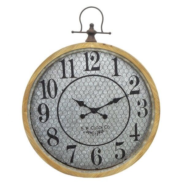 Three Hands Brown Wood/Metal Clock