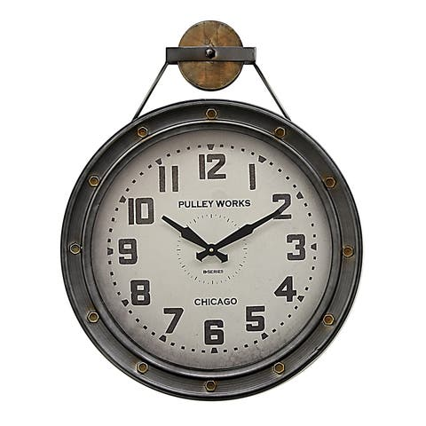 Three Hands Silver-finished Metal Wall Clock With Black Numbers