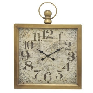 Three Hands Gold-tone Metal Frame Wall Clock