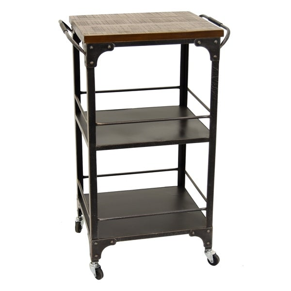 Three Hands Black Metal And Wood 3 Tier Wheeled Storage Rack