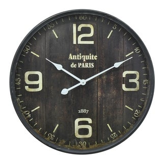 Three Hands Black Metal Vintage-style Wall Clock