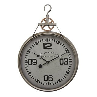 Three Hands Grey Metal Wall Clock